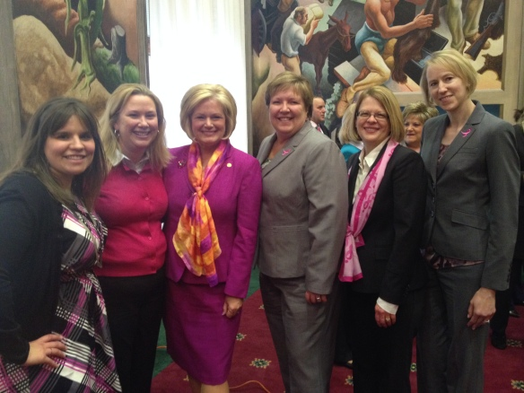 (L to R) Komen KC's Theresa Osenbaugh and Carli Good joined MO State Rep. Sheila Solon, Komen STL Executive Director Helen Chestnut and Communications/Mission Director Janet Vignen Levy duringt he press conference in Jefferson City, MO  today.