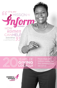 Gilmore was on the Komen KC's Faces of Komen in 2013