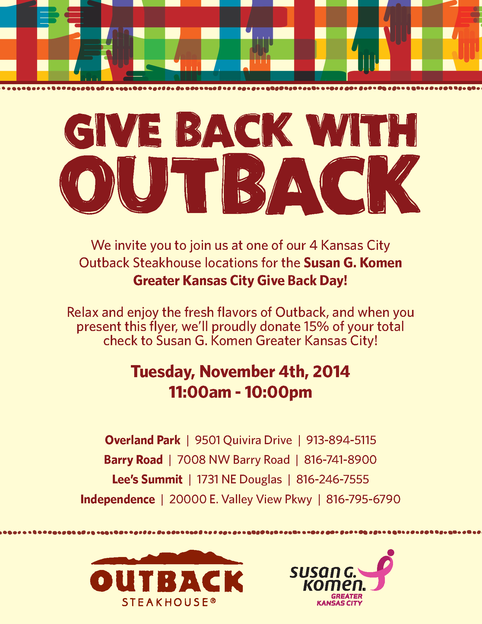 Give Back (for the cure) with Outback Steakhouse | Behind the Ribbon …