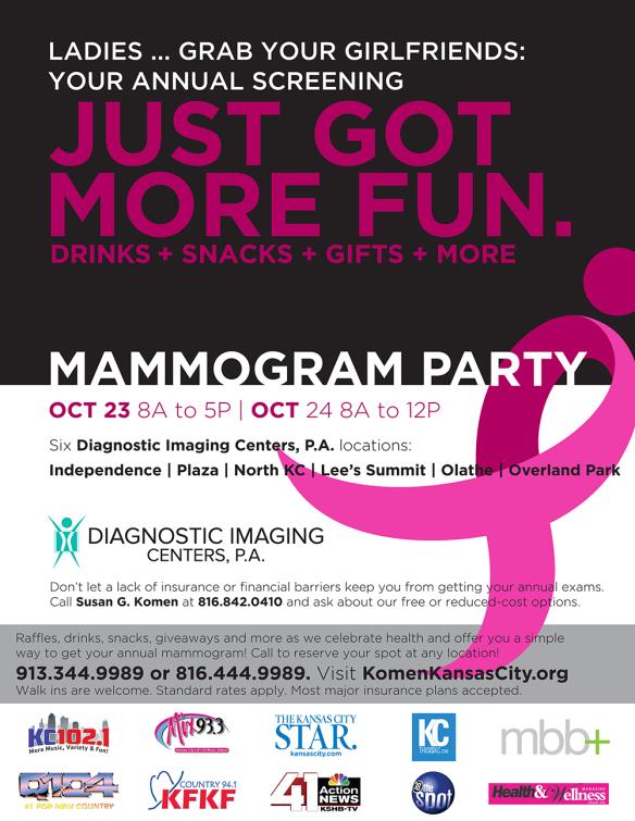 2015 Komen KC Fall Mammogram Party Flyer
