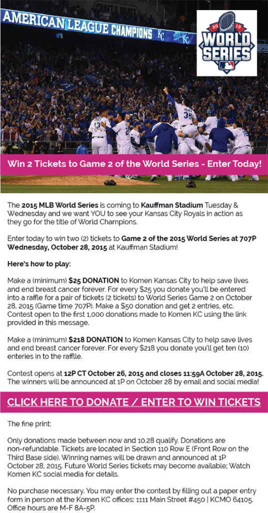 2015 KomenKC World Series Ticket Contest Email