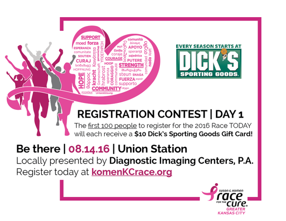 2016 Komen KC Race Contest Day 1 Graphic