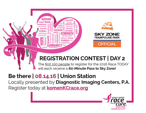 2016 Komen KC Race Contest Day 2 Graphic