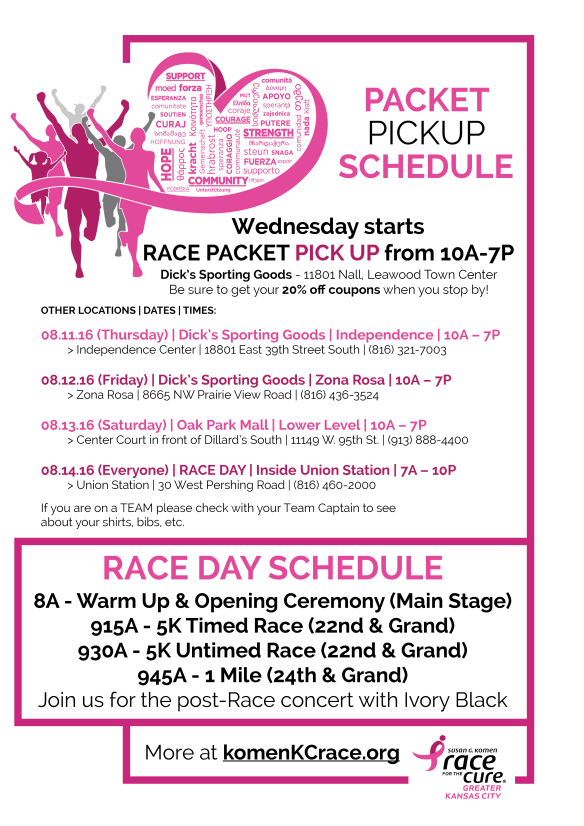 2016 Komen KC Race Packet Pick Up
