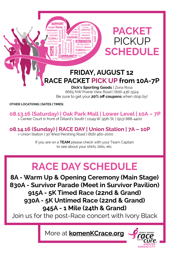2016 Komen KC Race Packet Pick Up