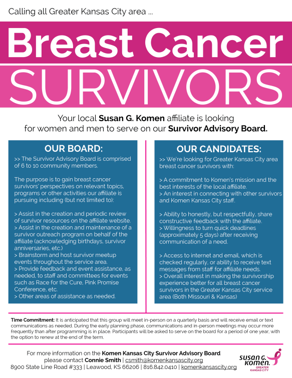 2016 Komen KC Survivor Advisory Board Flyer